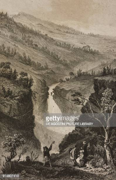 Rjukan Falls in the province of Telemark Norway engraving by Lemaitre Thienon and Cholet from Suede e Norwege by Philippe Le Bas L'Univers...
