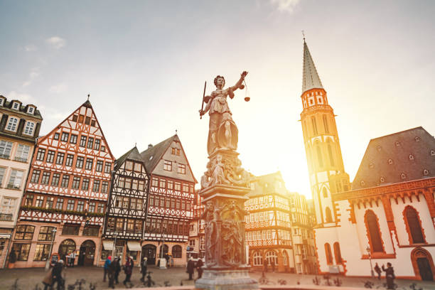 r?merberg old town square in frankfurt, germany - germany stock pictures, royalty-free photos & images