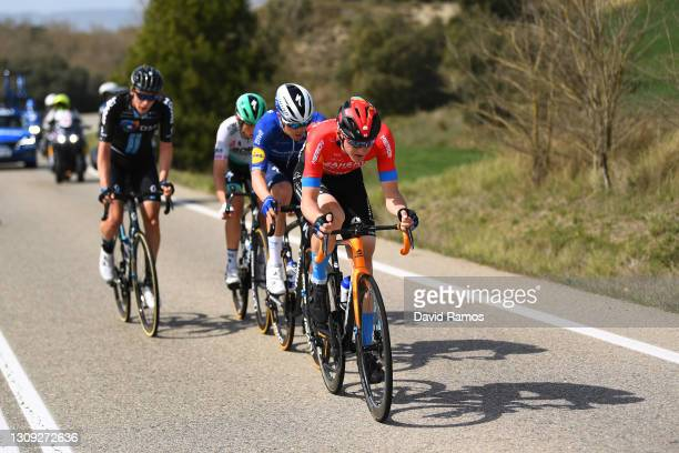 Rémi Cavagna of France and Team Deceuninck - Quick-Step, Ide Schelling of Netherlands and Team BORA - Hansgrohe, Thymen Arensman of Netherlands and...