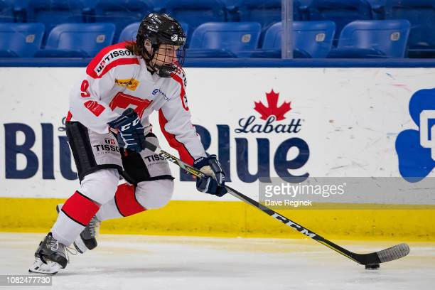 Rémy von Allmen of the Switzerland Nationals skates up ice with the puck against the Russian Nationals during day one of game one of the 2018 Under17...