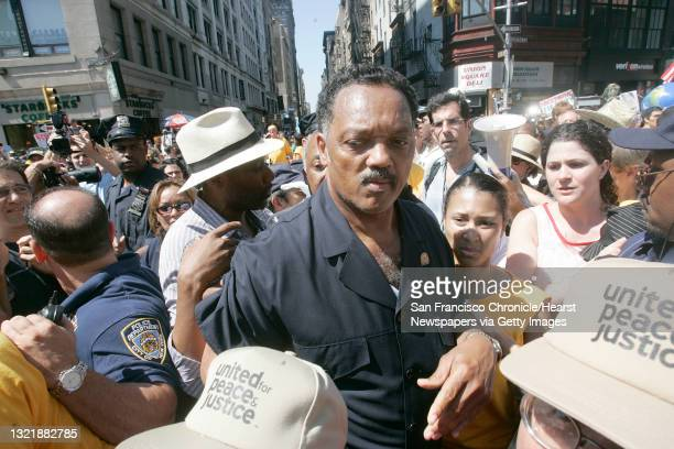 """Rnc048_mac.jpg The Rev. Jesse Jackson Sr. Was one of the leaders of the march. """"The World Says No To The Bush Agenda""""- march made it's way throuogh..."""