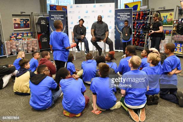 Ro Parrish and Shaquille O'Neal surprise Boys Girls Club of Southeast Louisiana with American Express at the NBA Store for NBA AllStar on February 17...