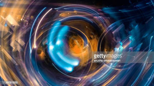 road abstract blur long light at night. - arch architectural feature stock pictures, royalty-free photos & images