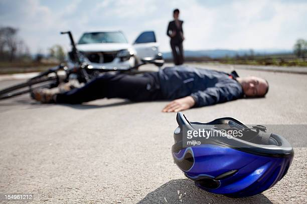 road accident. car and bicycle - crash photos stock photos and pictures