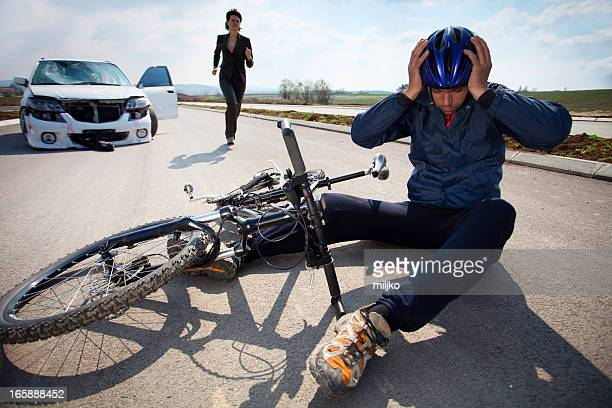 road accident. car and bicycle - crash stock pictures, royalty-free photos & images