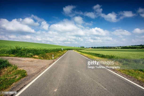 road along green field with blue sky above horizon - 境界線 ストックフォトと画像
