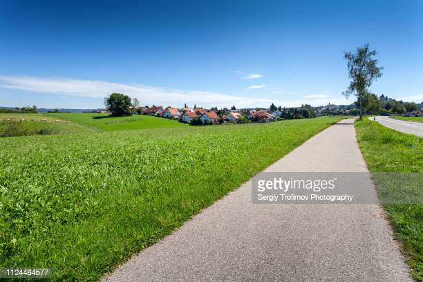 road along green meadow in summer. bavaria, germany. - village photos et images de collection