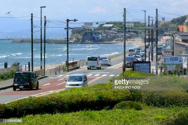 A road along the seafront returns to normal traffic in Fujisawa Kanagawa prefecture on April 25 amid concerns of the COVID19 coronavirus