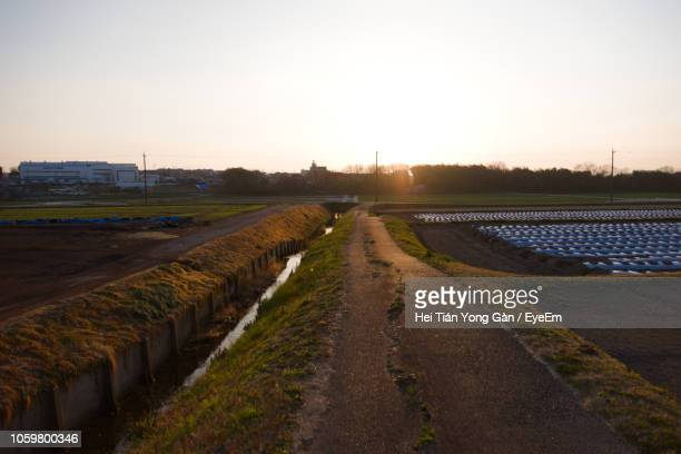 road amidst field against clear sky during sunset - 運河 ストックフォトと画像