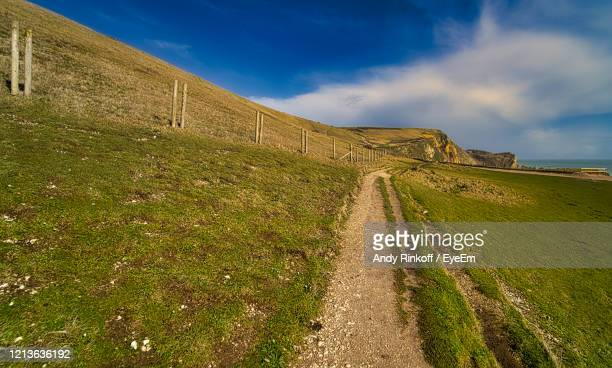 road amidst field against sky - andy rinkoff stock pictures, royalty-free photos & images