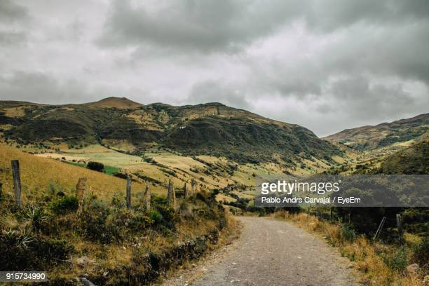 road amidst field against sky - carvajal stock photos and pictures