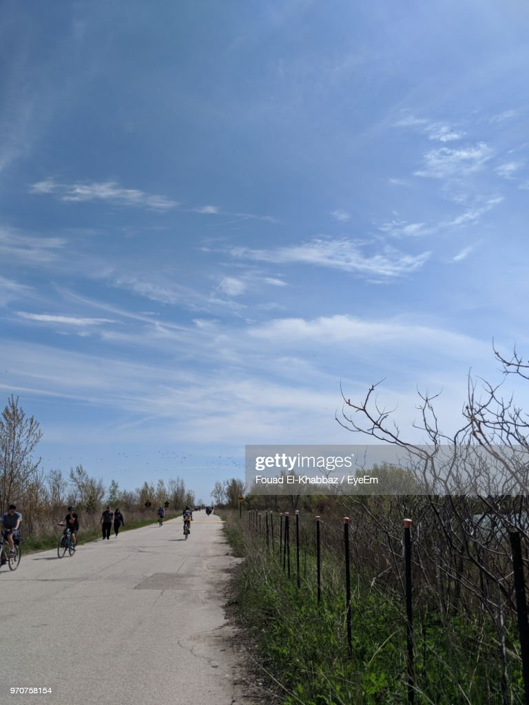Road Amidst Plants And Trees Against Sky : Stock-Foto