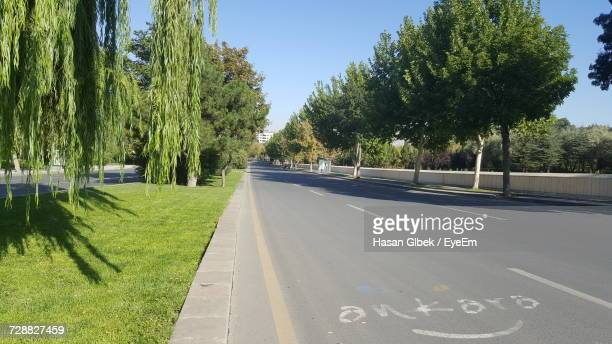 road amidst trees against clear sky - ankara turkey stock pictures, royalty-free photos & images
