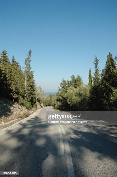 road amidst trees against clear sky - carolina fragapane stock pictures, royalty-free photos & images