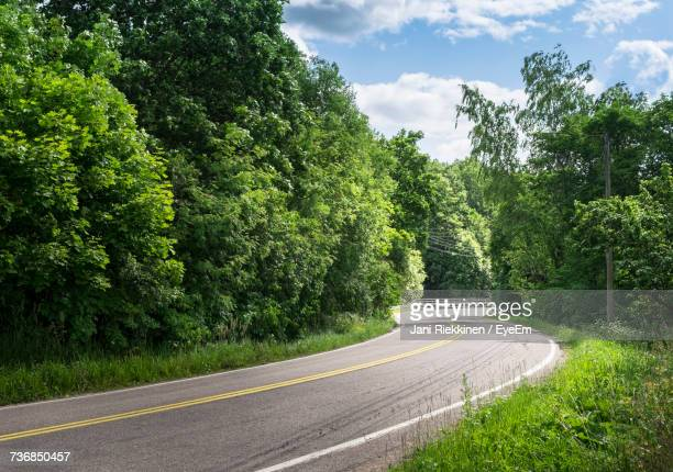 road amidst trees against sky - lush stock pictures, royalty-free photos & images