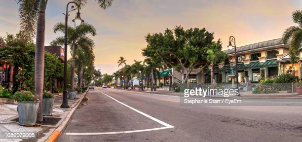 road amidst trees in city against sky - naples florida stock pictures, royalty-free photos & images