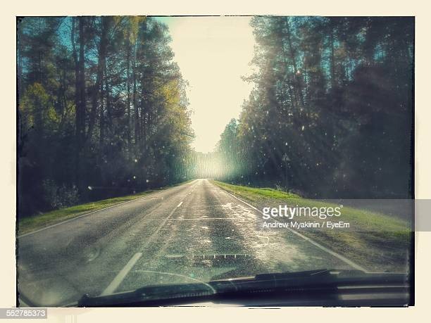 Road Amidst Trees Seen Through Car Window On Sunny Day