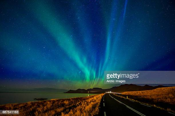 Road and Aurora Borealis, Iceland