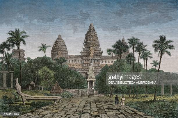 Road and main entrance to Angkor Wat Cambodia drawing by Guiaud from a sketch by Mouhot from Travels in the central parts of IndoChina Cambodia and...