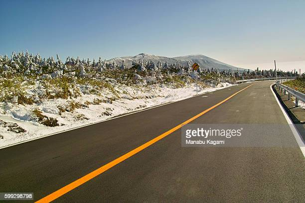 Road and Minami Zao, Yamagata Prefecture, Japan