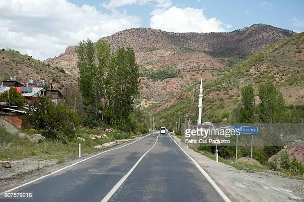 Road and minaret at Esenyurt of Turkey