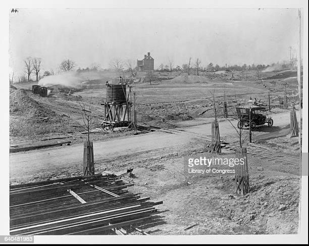 Road and railroad construction in the Massachusetts Avenue Heights neighborhood of Washington 1911 | Location Naval Observatory Circle Washington DC...