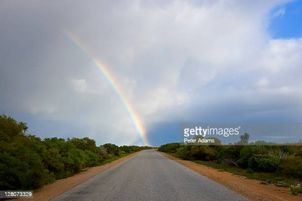 Road and rainbow, Nambung National Park, Western Australia, Australia