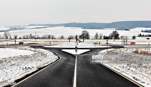 Road and roundabout in snow