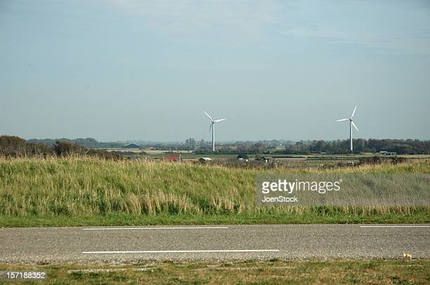 Road and windmills wind turbines