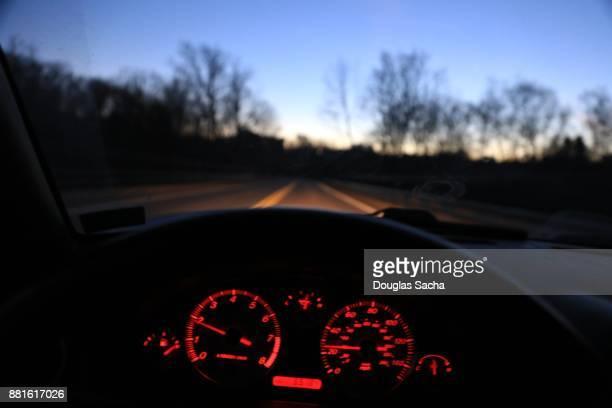 Road as seen through car window