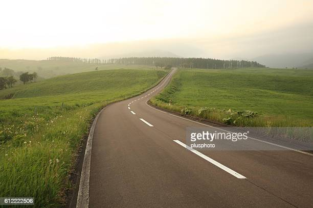 Road at dusk, Hokkaido Prefecture, Japan