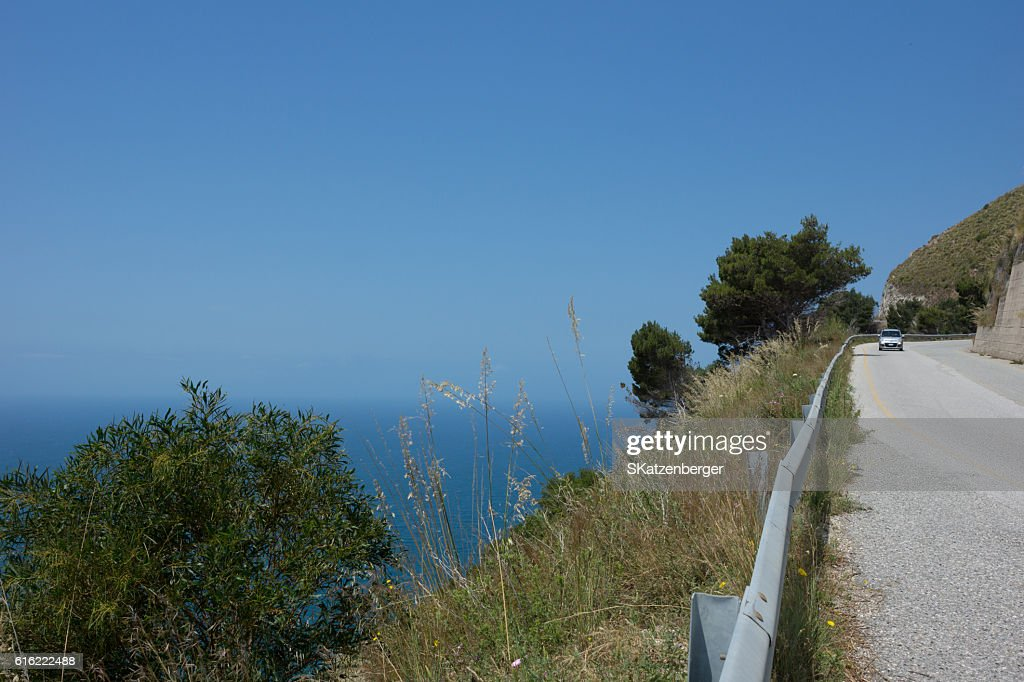 Road at the Calabrian coast in summer : ストックフォト