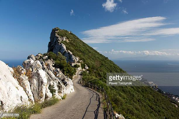 road atop the rock of gibraltar - rock of gibraltar stock photos and pictures