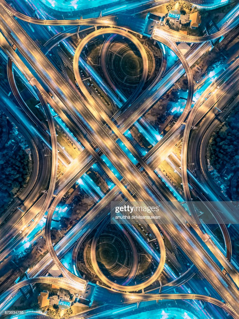 Road beautiful Aerial View of Busy Intersection at Night , top view , thailand . : Stock Photo