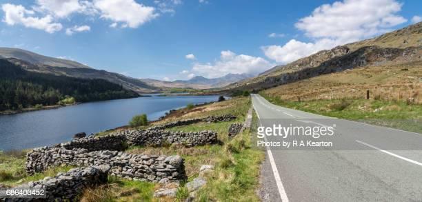 Road beside Llynnau Mymbyr in Snowdonia, North Wales