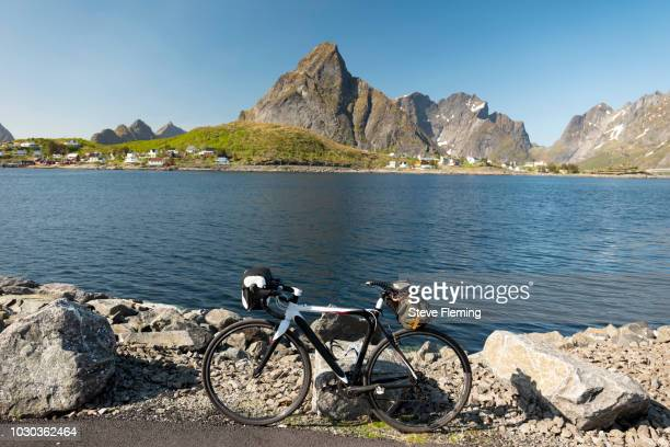 Road bike parked at Reine, Lofoten Islands, Norway.