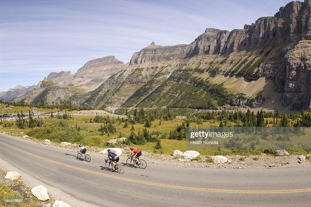 Road biking on a high alpine road in Glacier NP. : Stock Photo
