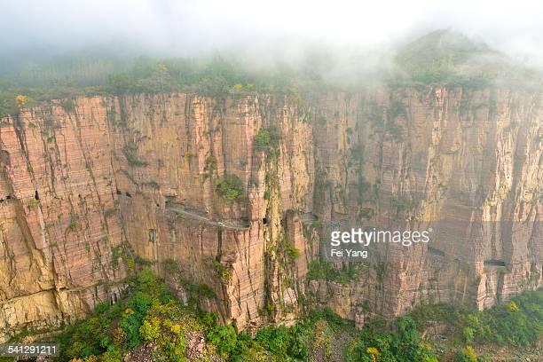 road built on the cliff - 太行山脈 ストックフォトと画像