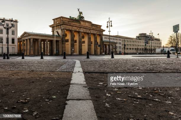road by historical buildings against sky - central berlin stock photos and pictures