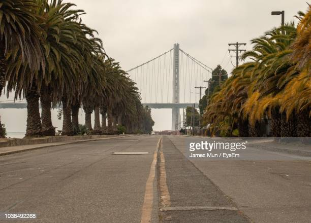 road by palm trees against sky in city - treasure island san francisco stock pictures, royalty-free photos & images