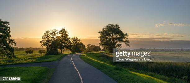 Road By Trees Against Sky During Sunset