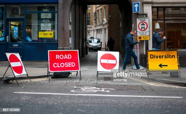 Road closed and diversion signs in London