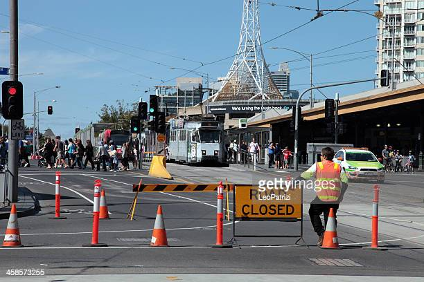 road closed for a parade - parade stock pictures, royalty-free photos & images
