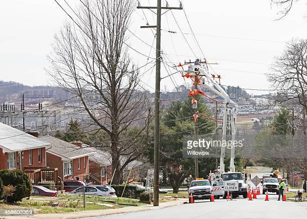 Road Closed for Utility Work in Urban Residential Neighborhood
