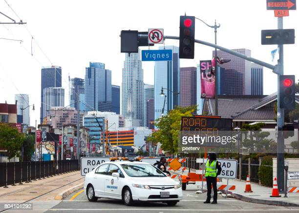 road closed in los angeles - detour sign stock photos and pictures