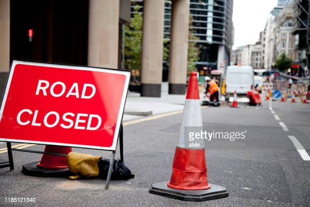 road closed - mattone stock pictures, royalty-free photos & images