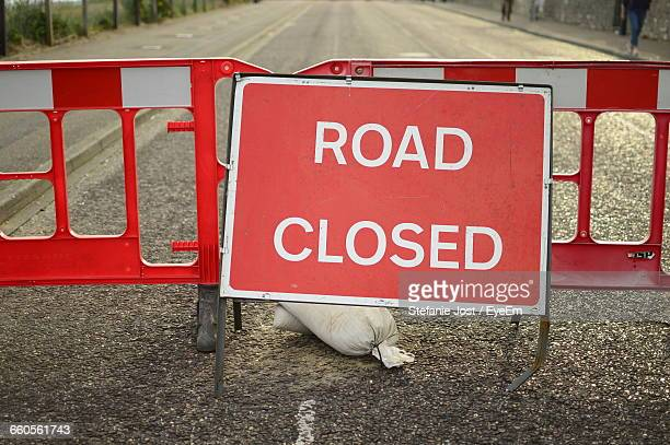 Road Closed Sign On Street