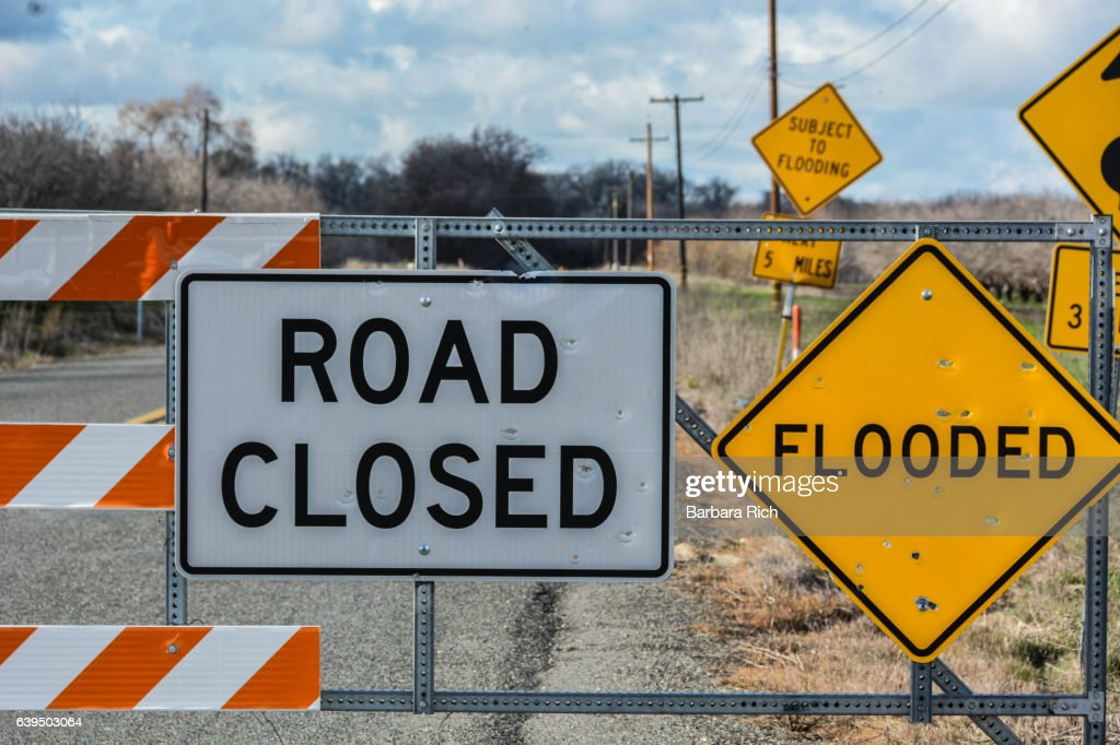 Road Closure Signs As A Result Of Northern California Flooding Stock
