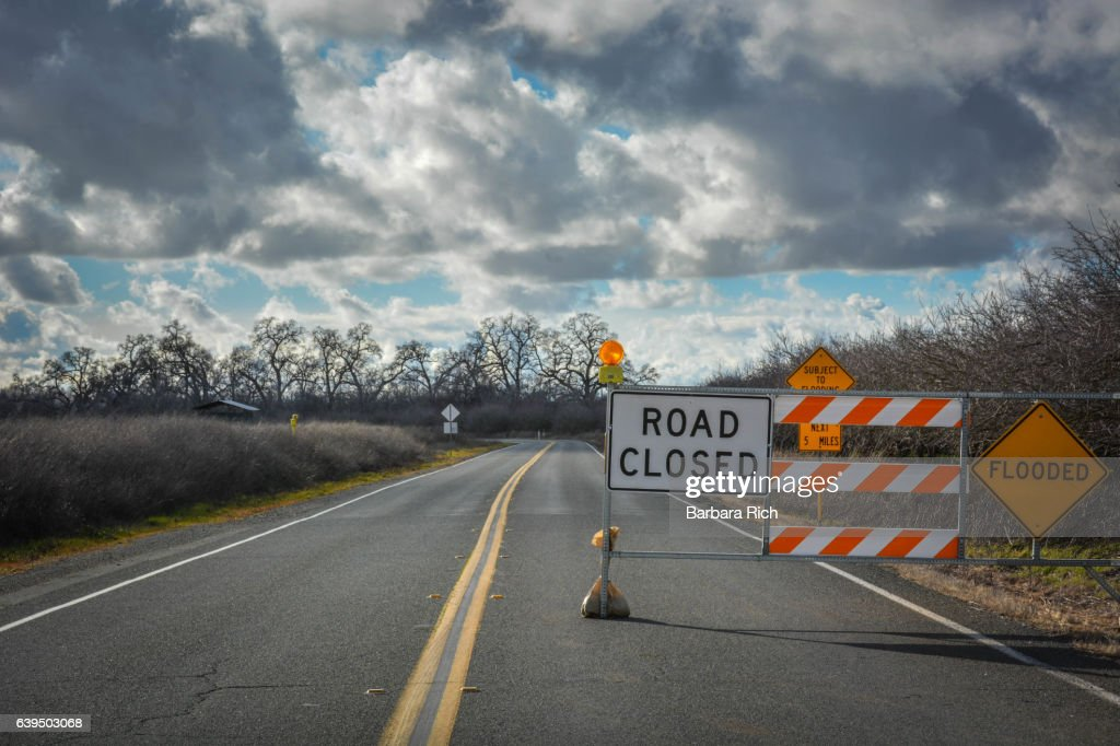 Road Closure Signs As A Result Of Northern California Flooding Photo