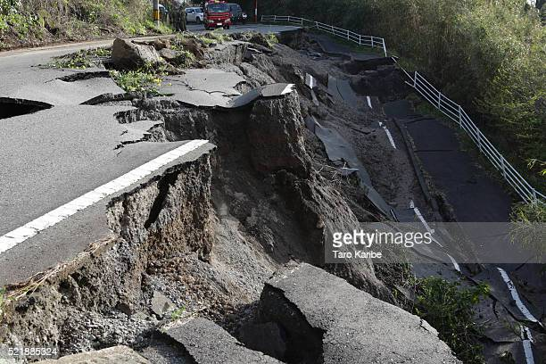 A road collapse and landslide are seen on April 17 2016 in Kumamoto Japan A magnitude73 earthquake hit Kumamoto prefecture on Japan's Kyushu Island...